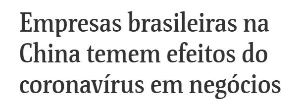 Coronavírus afeta a empresas brasileiras